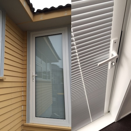 image showing aluminium blinds from inside and outside the home
