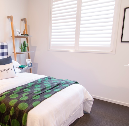 shutters in a bedroom setting