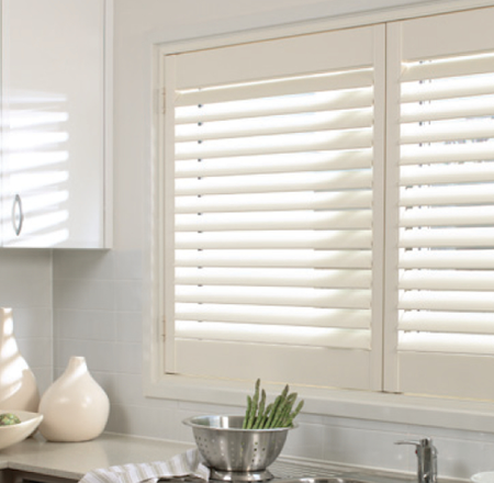 ecosmart pvc shutters above the kitchen sink