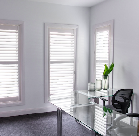 home office using shutters for light control