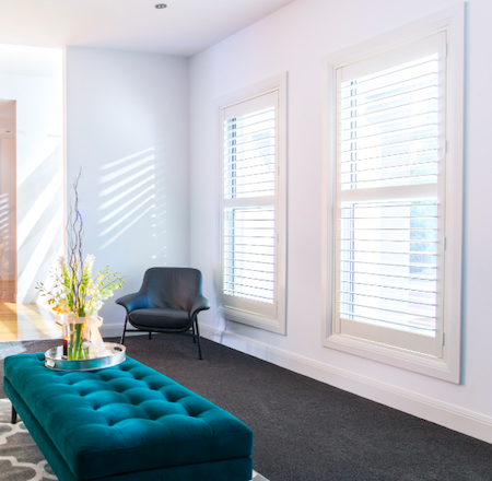 controlling light using shutters in a lounge setting