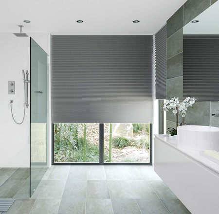 blockout honeycomb blinds in a modern bathroom