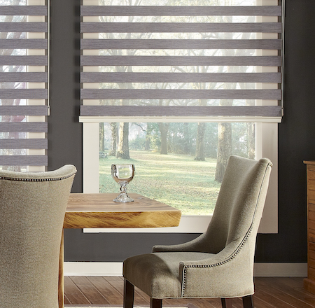 vision blinds half open in a homes dining room