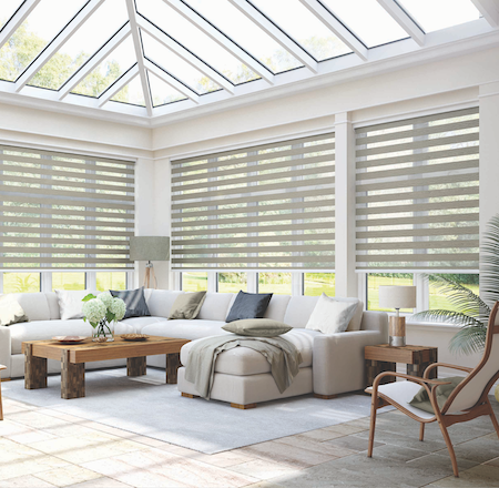 large vision blinds in a lounge conservatory area of a home