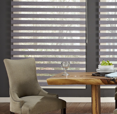 vision blinds used in a dining room