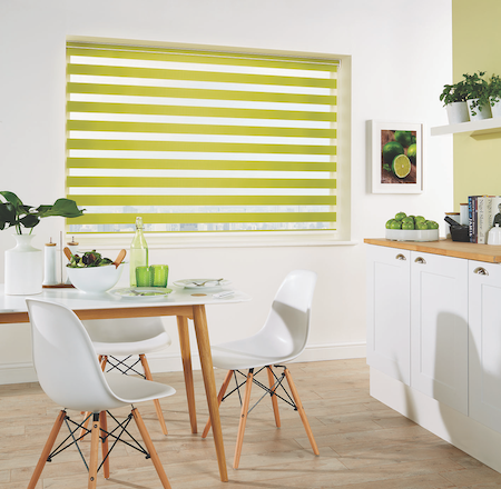 colourful vision blinds in a dining kitchen area of the home