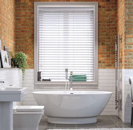 wooden blinds in a bathroom environment