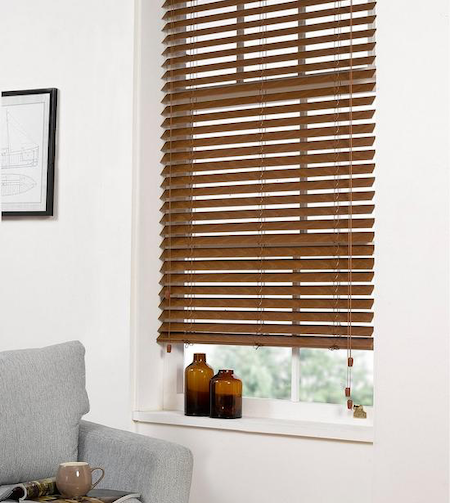 dark brown wooden blinds in the lounge