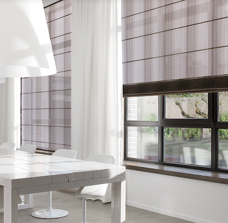 large roman blinds in a dining room