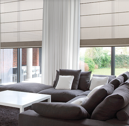roman blinds in a modern lounge setting